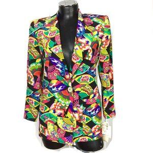 Dana Buchman Colorful Chinese Fan Silk Blazer 4P